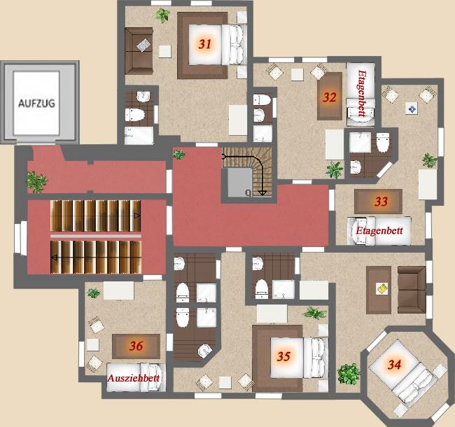 2. Obergeschoss Im 2. Obergeschoss Befinden Sich 6 Schlafzimmer Mit 14  Betten. (1x Ausziebett) Hier Haben Sie Einen Wunderschönen Ausblick Auf Bad  Sachsa.